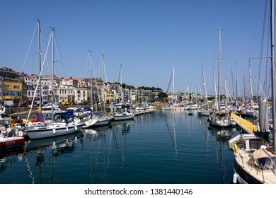 St. Peter Port, Guernsey -August 6, 2018:  Saint Peter Port is the capital of Guernsey as well as the main port. It's also considered one of Europes prettiest harbour towns.