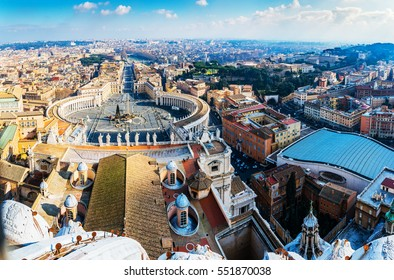 St. Peter Square is a large plaza located directly in front of St. Peter Basilica in the Vatican City, the papal enclave inside Rome, directly west of the neighbourhood or rione of Borgo.