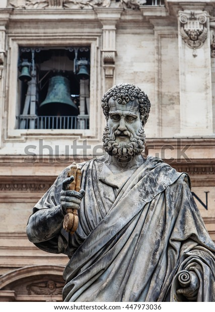 St Peter statue in St. Peter Square (Rome, Italy)