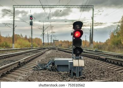 St. Peterburg, Izhory terminal station, autumn 2017, railway traffic light, stop red light, freight and passenger trains station, shunt signal, marshal yard, railway background