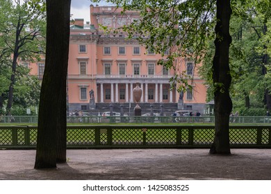 St. Peterburg, Russia - May 29, 2019: a beautiful view of  the Mikhailovsky Castle, a branch of the Russian Museum from the territory of the Summer Garden