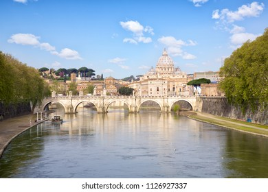 St. Peter's Basilica and Bridge Sant Angelo, Rome, Italy