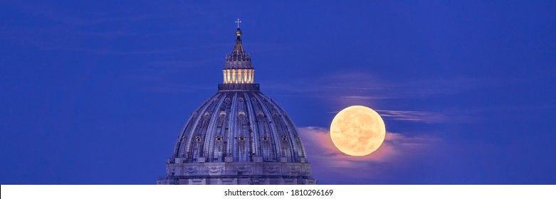 St Peter's Basilica Dome with Full Moon in the Background. Real View of the Moon Actually Passing Behind the Vatican in Rome. Easy to Crop for Editorial, Commercial, Personal Use