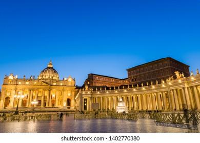 St. Peter's Basilica illuminated at dusk, Vatican city