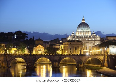 St Peter's Basilica,  Italy, at sunset