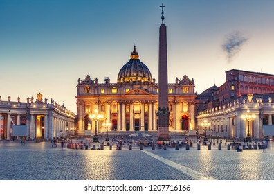 St. Peter's Basilica in Rome, Italy, at sunset. Stylised travel and architectural background.
