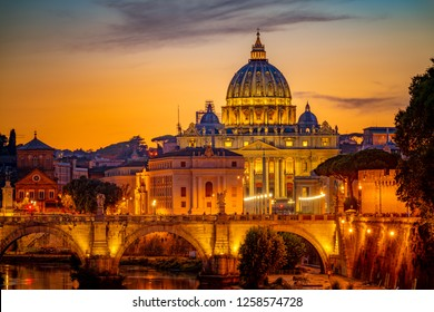 St peter's basilica in Rome,Vatican, the dome at sunset