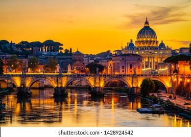 St. Peter's basilica in Rome,Vatican, the dome at sunset
