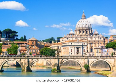 St Peter's Basilica (San Pietro) in Vatican City, Italy. It is a famous landmark of Vatican. Nice cityscape of the old Roma in summer. Beautiful panorama of medieval Rome and Vatican City.