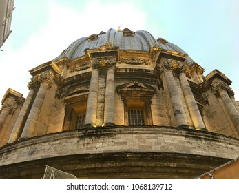 St. Peter's Basilica, Vatican City - December 27, 2017: Watching the dome from exterior.
