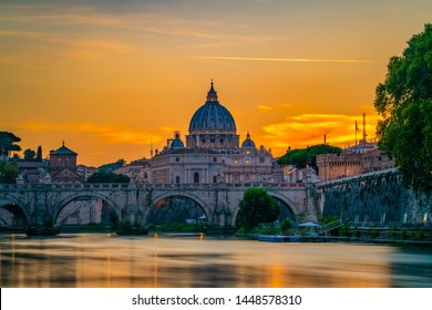 St. Peter's Basilica in Vatican at sunset in Rome,Italy