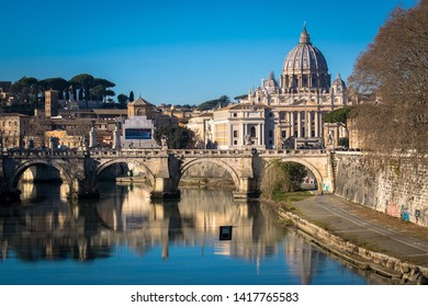 St. Peter's Basilica view of the Tiber River - Rome - Italy.
