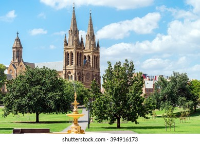 St. Peter's Cathedral of Adelaide on a day, South Australia. View from Pennington Gardens