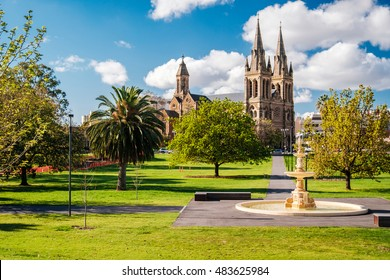 St. Peter's Cathedral in Adelaide, South Australia. View from Pennington Gardens