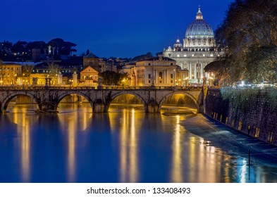 St. Peter's Cathedral and bridge St. Angelo at night, Rome