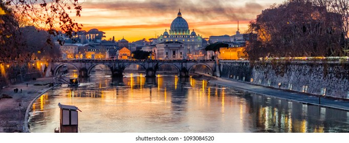 St. Peter's Cathedral during a wonderful sunset in Rome, Italy