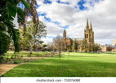 St. Peter's Cathedral located in North Adelaide on a day viewed from Pennington Gardens