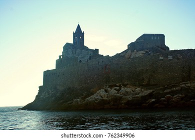 St. Peter's Church in Portovenere seen from the boat