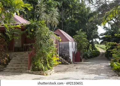 St Peter's Parish, Barbados - April 6, 2017: St Nicholas Abbey. The classic original buildings of the rum factory at St Nicholas Abbey still stand and are still used today in rum production.