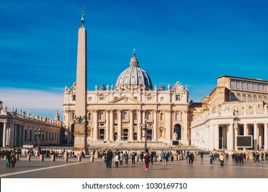 St. Peter's square and Saint Peter's Basilica in the Vatican City in Rome, Italy