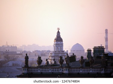 St. petersbourg, Russia - Mar 18 2015: View to Kunstkamera over thje roof of Winter Palace