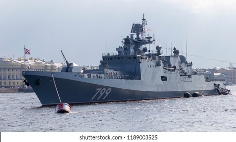 St. Petersburg - August 12, 2018: The newest frigate of the Black Sea Fleet - Admiral Makarov at a parade in honor of the Navy on the Neva River August 12, 2018, St. Petersburg, Russia