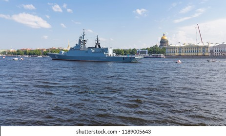 St. Petersburg - August 12, 2018: a large anti-submarine ship on the parade in honor of the day of the Navy against the backdrop of the St. Isaac's Cathedral August 12, 2018, St. Petersburg, Russia