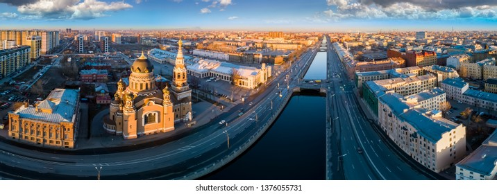 St. Petersburg. Bypass channel. Russia Panorama of St. Petersburg. Resurrection Church in St. Petersburg. Museums of cities of Russia. Channels in St. Petersburg. City from a height. Russian Federatio