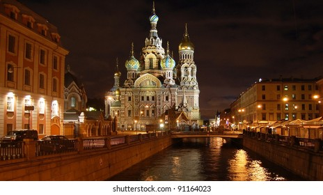 St Petersburg, The Church of Our Savior on Spilled Blood at night