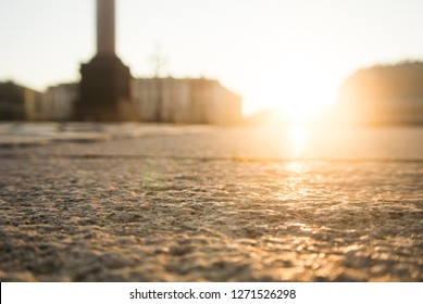 St. Petersburg cobblestone palace square at dawn. Sights of the world. at the Hermitage in Leningrad. Granite pavers are like water. Alexandria pillar wonder of the world. The best dawn in the cultura