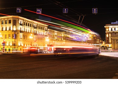St. Petersburg, December 20, 2016: night view of the city through the car flow
