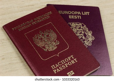 ST PETERSBURG FEBRUARY 2018 two passports on table. dual citizenship of Estonia and russia, europe
