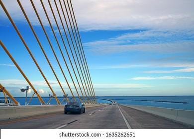 ST PETERSBURG, FL -24 JAN 2020- View of the Bob Graham Sunshine Skyway Bridge over the Tampa Bay in Saint Petersburg, Florida, United States.