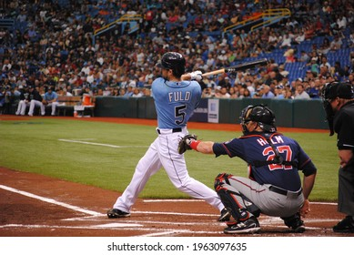 St. Petersburg, FL , United States - April 17, 2011: Tampa Bay Rays outfielder Sam Fuld hits leadoff single against the Minnesota Twins
