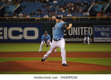 St. Petersburg, FL , United States - April 17, 2011: Tampa Bay Rays pitcher Jeremy Hellickson throws a pitch against the Minnesota Twins