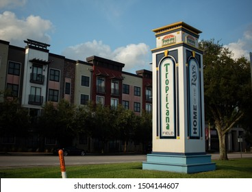 St Petersburg, Fl / US - 09 01 2019: A pillar marking the parking lot entrance to Tropicana Field during sun down on gameday
