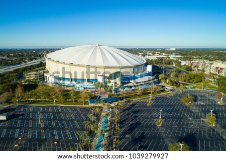 ST PETERSBURG, FL, USA - FEBRUARY 15, 2018: Aerial wide angle image Tropicana Field St Petersburg Florida USA