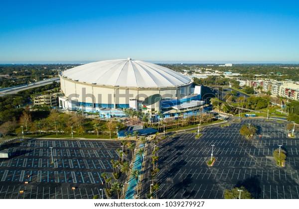 ST PETERSBURG, FL, USA - FEBRUARY 15, 2018: Aerial wide angle image Tropicana Field St Petersburg Florida USA