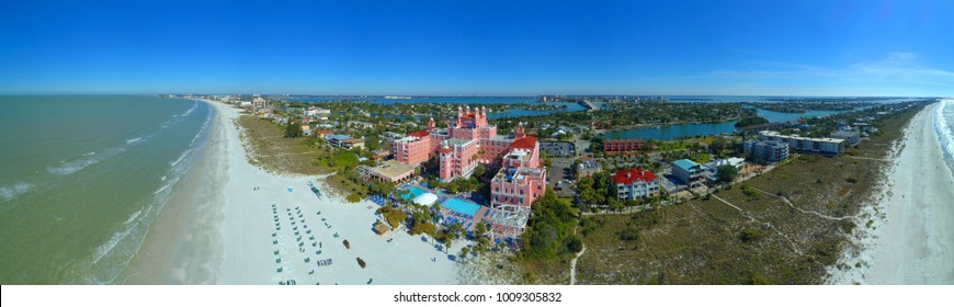 ST PETERSBURG, FL, USA - JANUARY 13, 2018: Aerial drone photo of The Don CeSar St Petersburg Beach Florida USA