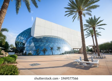 ST. PETERSBURG, FLORIDA - APRIL 6, 2016: Exterior of the Salvador Dali Museum. The museum houses the largest collection of Dali's work outside Europe.