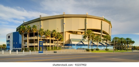 ST. PETERSBURG, FLORIDA - DECEMBER 29: Tropicana Field on DECEMBER 29, 2011 in St. Pete, FL. It is the only stadium in history to host professional baseball, football, hockey and arena football.