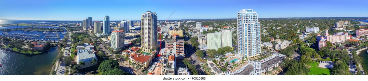 ST PETERSBURG, FLORIDA - FEBRUARY 5, 2016: Beautiful aerial  city view. St Pete is a famous Florida attraction for tourists.