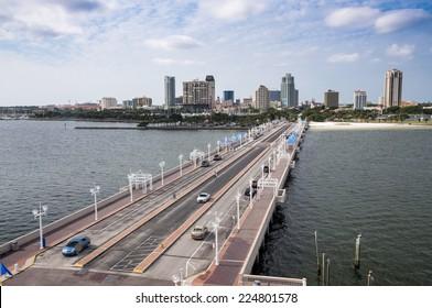 ST. PETERSBURG, FLORIDA - NOV 23: St. Petersburg skyline as seen from the Pier. November 23, 2009 in St. Petersburg, Florida, USA