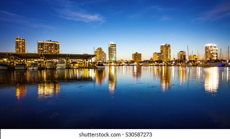 St. Petersburg, Florida skyline and marina cityscape as night falls