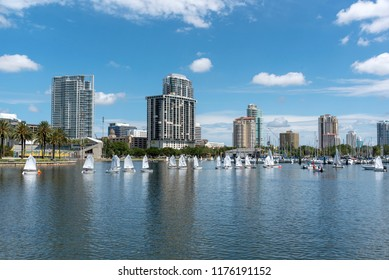 St Petersburg, Florida, USA 2018. Youngsters learning to sail on the waterfront.