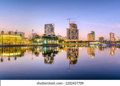 St. Petersburg, Florida, USA downtown city skyline at twilight on the bay.