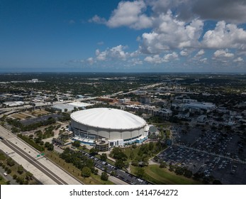 St. Petersburg, Florida / USA - June 1, 2019: Aerial View of Tropicana Field Home of the Tampa Bay Rays Major League Baseball Team