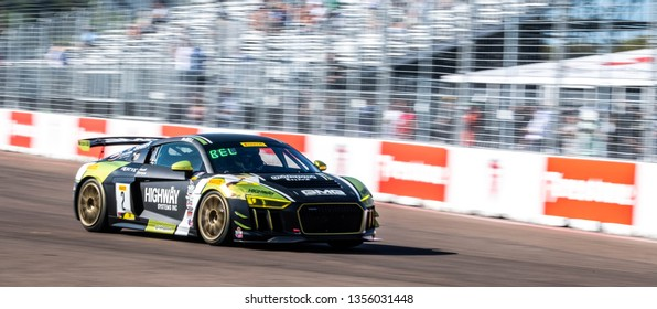 St. Petersburg, Florida/ USA March 10 2019: Pirelli World Challenge GT race car #2 Bell  at the Firestone Grand Prix of St. Petersburg IndyCar race on March 10, 2019 in St. Petersburg, Florida
