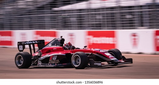St. Petersburg, Florida/ USA March 10 2019: Exclusive Autosport IndyCar racing during the Firestone Grand Prix of St. Petersburg IndyCar race on March 10, 2019 in St. Petersburg Florida