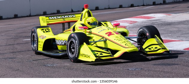 St. Petersburg, Florida/ USA March 10 2019: Menards IndyCar #22 making the turn during the Firestone Grand Prix of St. Petersburg IndyCar race on March 10, 2019 in St. Petersburg Florida